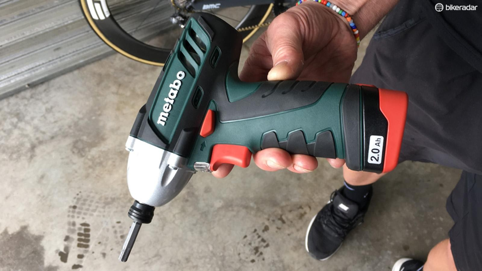 The power tools are compact enough to hold in one hand, as well as a set of wheels