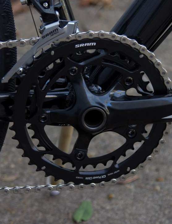 The 46/36T front chainrings 11-26T rear gearing are ok for commuting and flat races but may cause problems when things get hilly