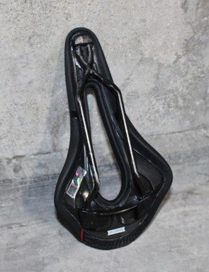 The carbon rail features a Dynamic Node Action design at the front end of the saddle improving strength and weight properties, says Selle San Marco