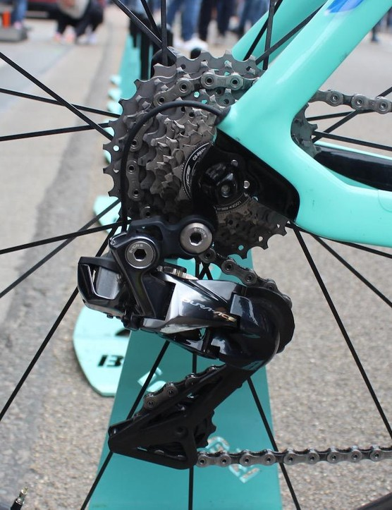 The Di2 cable for the rear derailleur exits just above the rear dropout, providing a clean finish