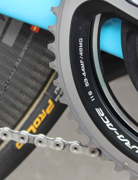 Whilst Naesen opts for a standard 53t outer chainring, the inner is a larger than usual 44t for the flat Classics