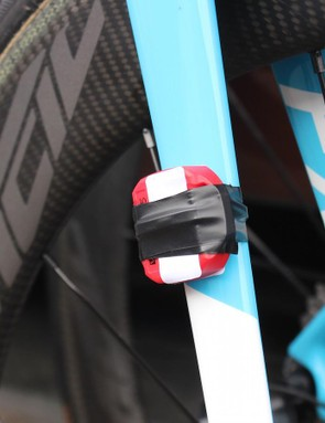 The crudely attached timing chip stood out on the fork