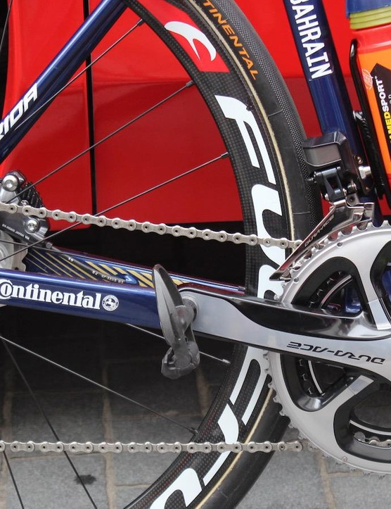 Bonifazio's Merida was equipped with a Shimano Dura-Ace 9070 groupset and no SRM carbon cranks, as seen on other Bahrain-Merida bikes this season