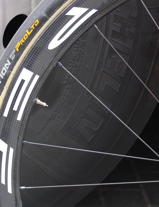 The wheels are paired with Continental Competition RBX 28mm tubular tyres to cushion the ride on the rough cobbles