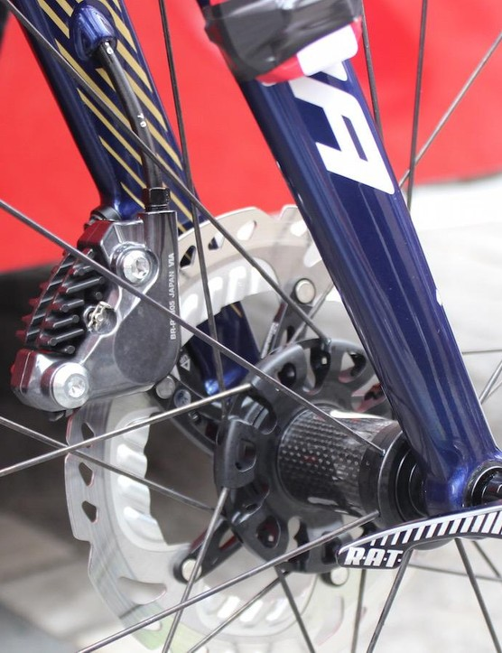 The hydraulic brake hose is routed internally through the left-hand fork