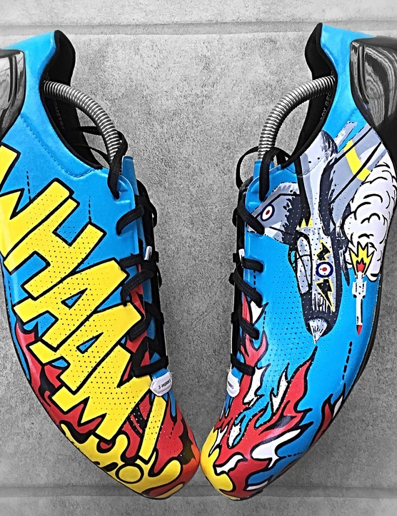 Custom Specialized S-Works Sub 6 road shoes with a design inspired by the work of Roy Lichtenstein