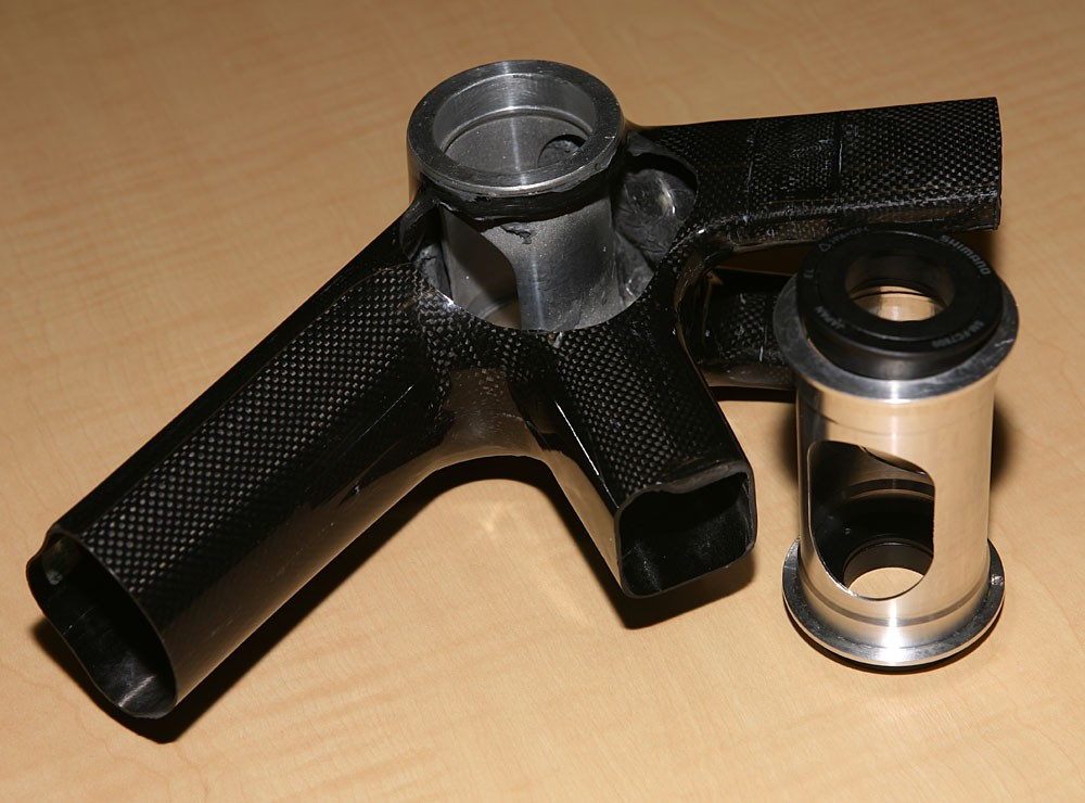 Cut-away reveals the innards of the bottom bracket shell, which takes Shimano's press-fit bearings