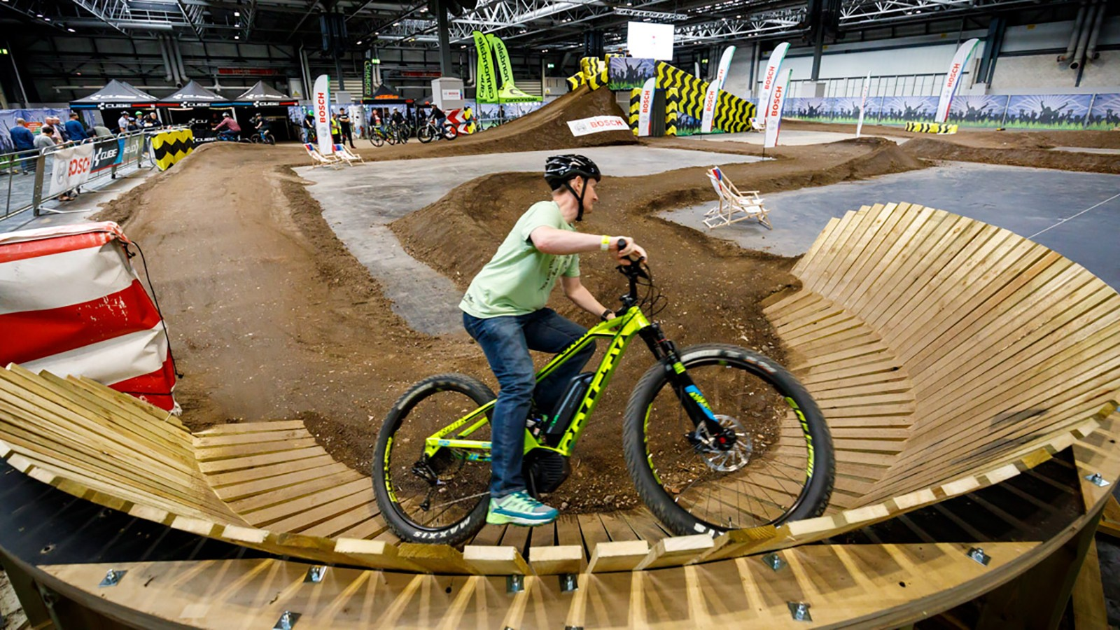 Test out an e-bike on the indoor track
