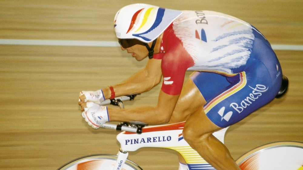 Five-time Tour winner Miguel Indurain broke the Hour Record in 1994 aboard a Pinarello, covering 53.04km in Bordeaux