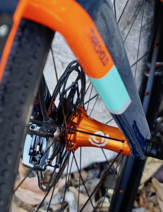 I9's standard orange anodizing for launch and media wheels don't jive with many bikes, but this Norco Threshold was within the color wheel