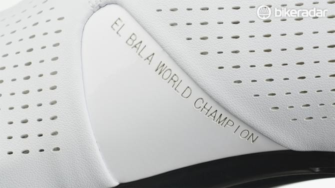 "The instep of the shoe has the inscription ""El Bala World Champion"""