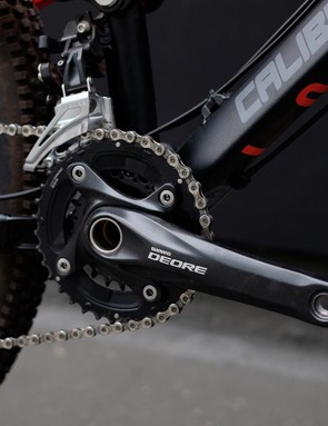 Shimano's Deore 2x10 transmission may not be fashionable but it provides a good spread and is easily converted to 1x