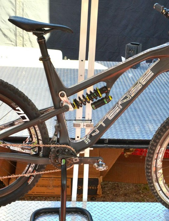 Being sales manager for Intense has its perks, like this custom camo Spider loaded with DVO suspension and ENVE wheels
