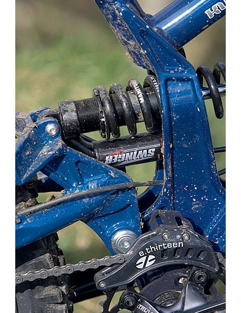 The Manitou Swinger 4-Way coil shock out back was a bit too soft for even our skinny test team