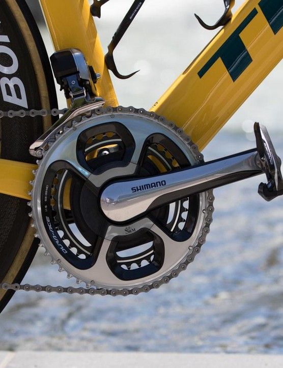 Trek-Segafredo is sponsored by SRM. The SRM Shimano 11-speed crank is the official crank of the team