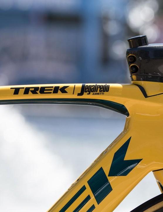 The new Trek-Segafredo team logo features on the top tube