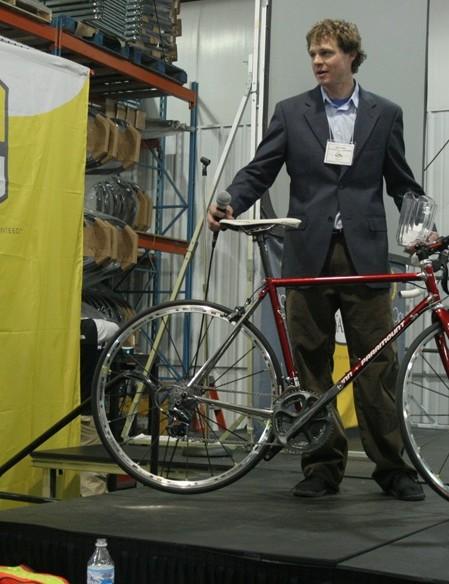 Bicycle Federation of Wisconsin director Jack Hirt raffles off a Reynolds 953 lugged steel Schwinn Paramount.