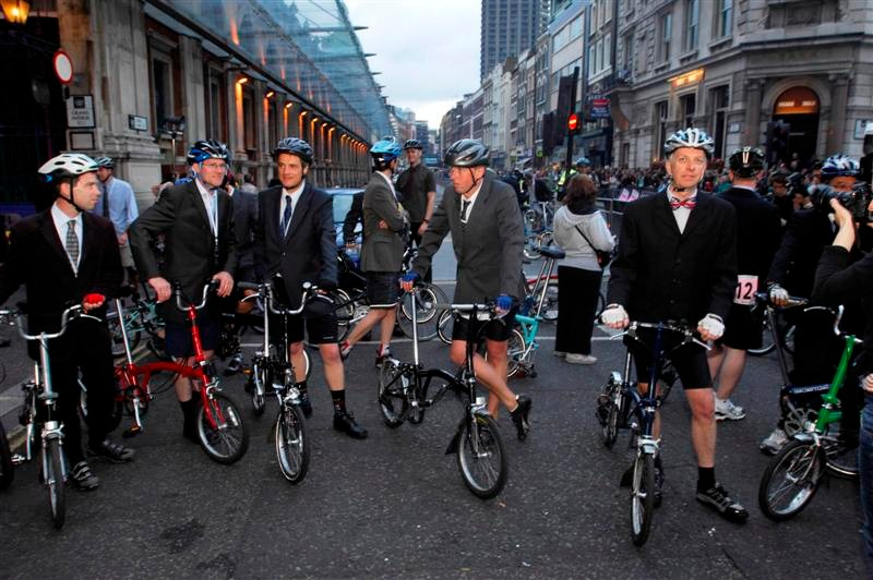 London commuters get ready for the 2007 folding bike race at the Smithfield Nocturne