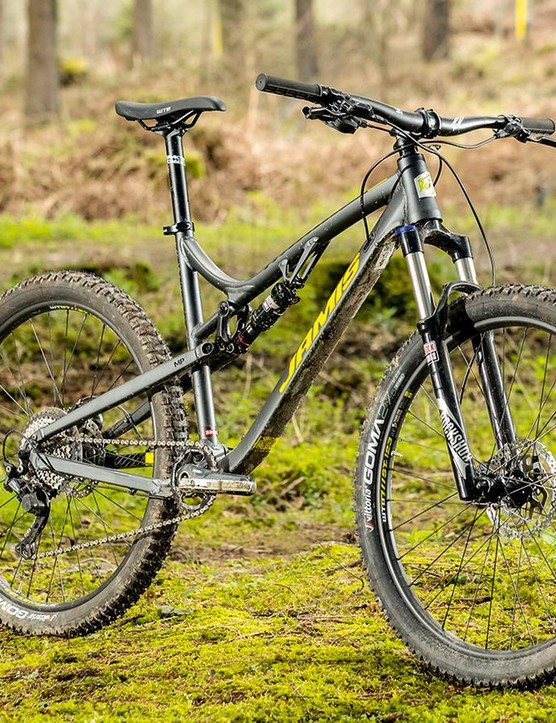 The 142mm rear end and RockShox Monarch shock are evidence that this is an older frame design, but they still work great on the trail