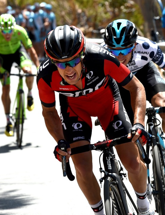Richie Porte (BMC) racing on Willunga Hill at stage 5 of the Tour Down Under