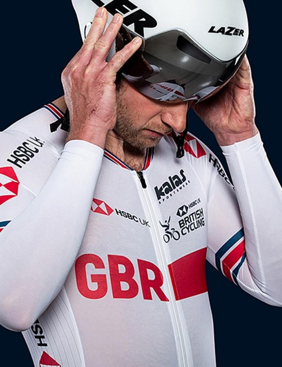 Jason Kenny models the new British Cycling team kit