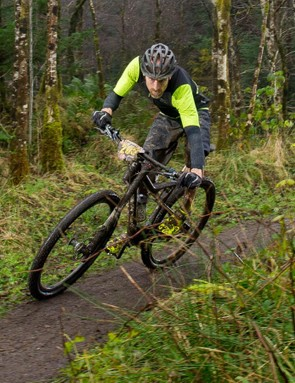 The Lefty fork is impressively stiff but the slippery Schwalbe tyres meant I still used the full width of most corners