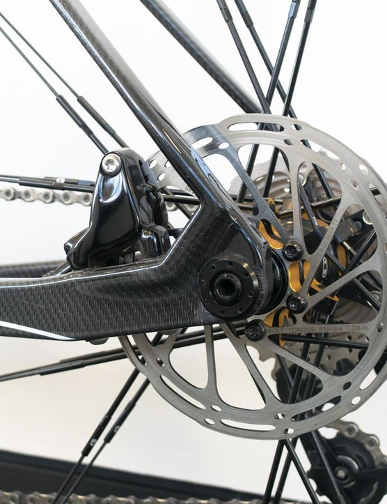 The stays on this bike are complex and ever-changing in profile