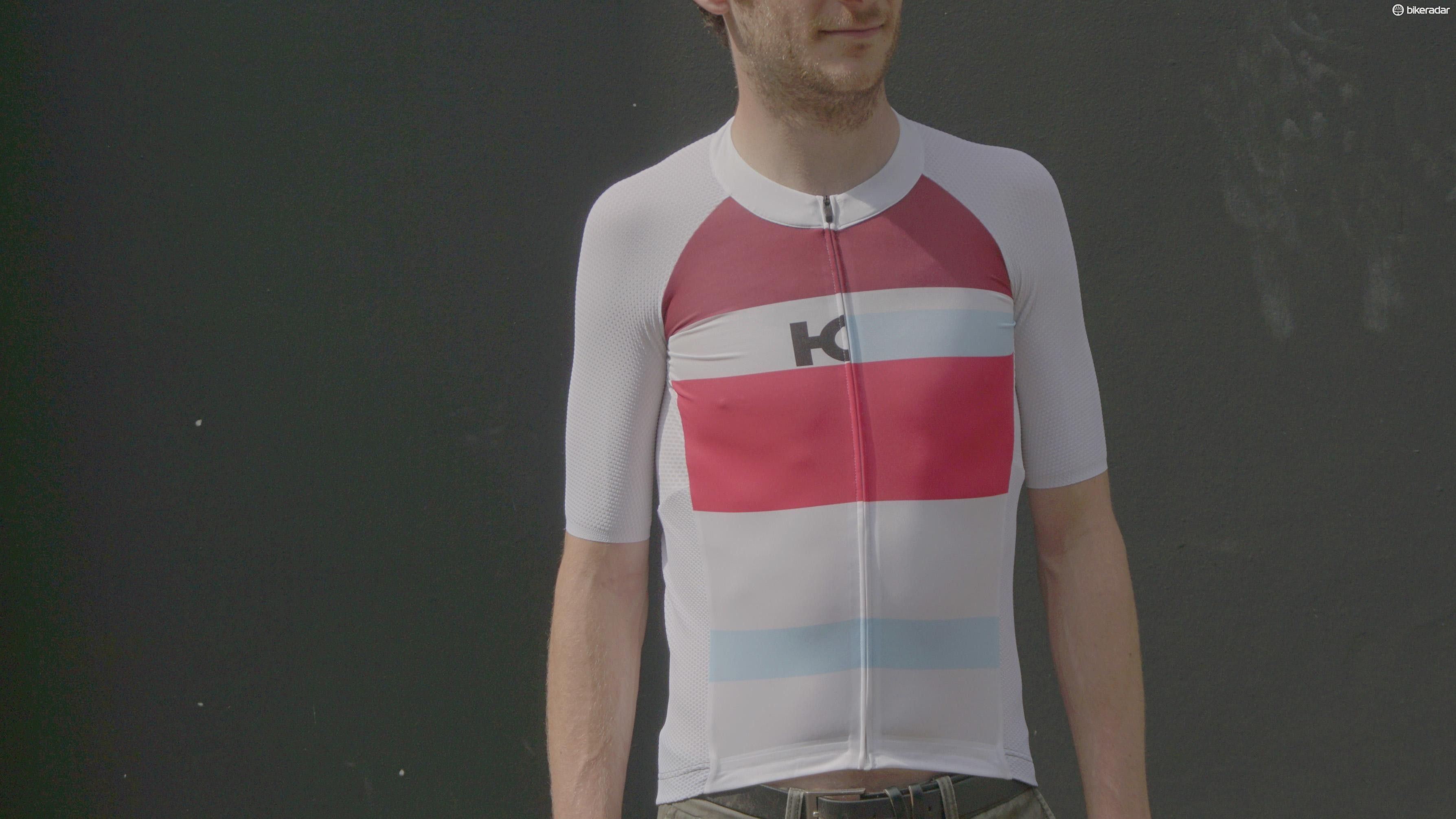 The Katusha jersey is designed to fit very snugly indeed for those aero gains