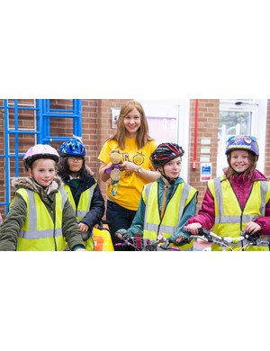 Joanna Rowsell Shand at the Big Pedal 2017 launch event at Cale Green Primary in Stockport