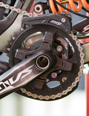Keeping that chain in place while he's not pedalling, Bryceland uses a MRP G4 Carbon chainguide