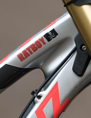 Rubber bumpers are part of the frame design for the carbon Santa Cruz V10