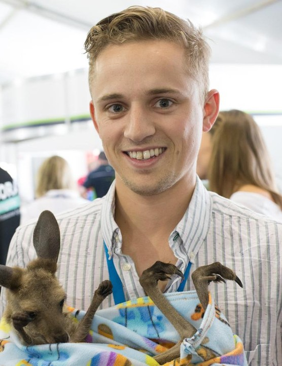 When Josh Evans wasn't reporting on the Tour Down Under he was babysitting a joey