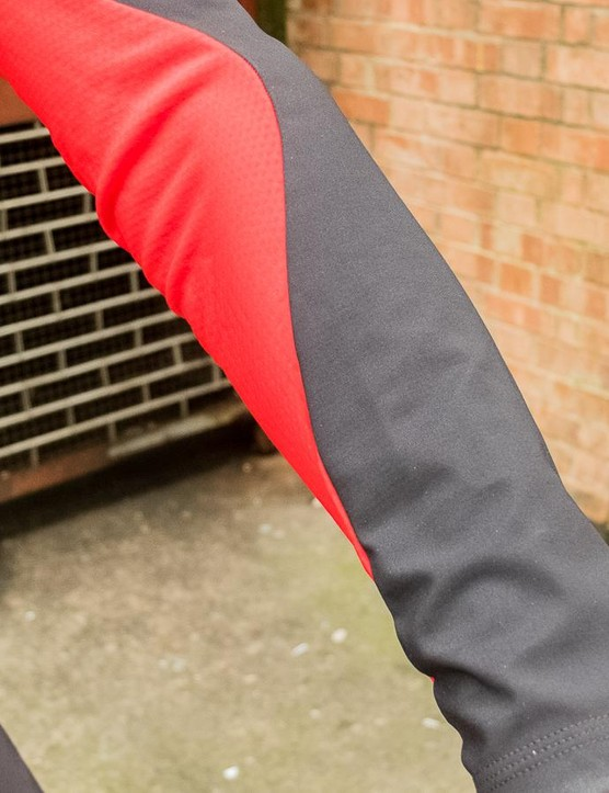 The jacket is a hybrid of windstopper material and breathable insulation