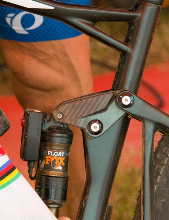 A peak at a prototype carbon rocker link on Absalon's race bike. It has 'Impec' printed on it, which refers to BMC's own Swiss-based carbon manufacturing facility