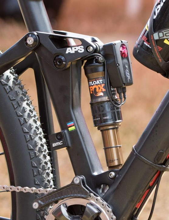Both front and rear shocks are linked into the Shimano Di2 system, providing immediate lockouts at the touch of a button