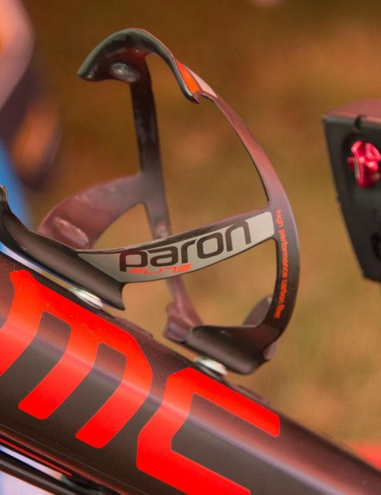 A single bottle cage is all that's needed when you have access to fresh bottles every lap