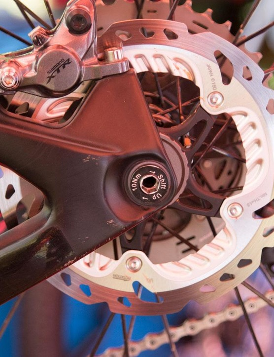 Special bolt-up thru-axles are built with power tools in mind. 8mm hex bore is quicker to work than a 5mm