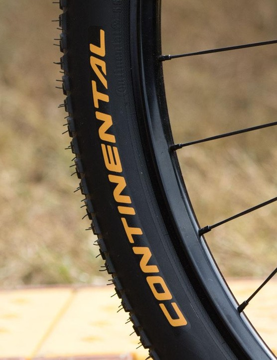 These unbranded rims carry a rather familiar-looking profile. Our guess is Stan's Race Gold