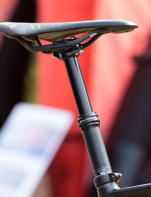 Now that's a first at a World Cup. Absalon on a KS LEV Ci dropper seatpost. Pictured is a standard LEV in a 100mm for his training bike