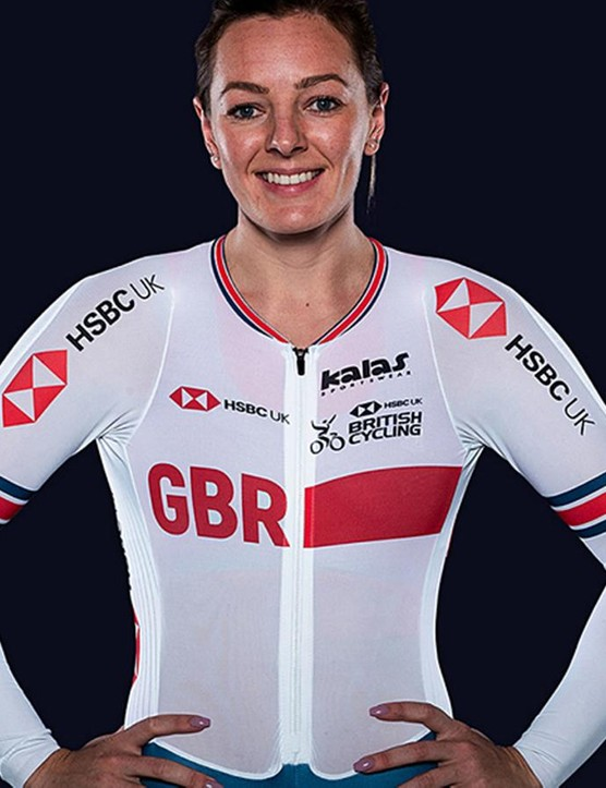 Katy Marchant models the new British Cycling team kit