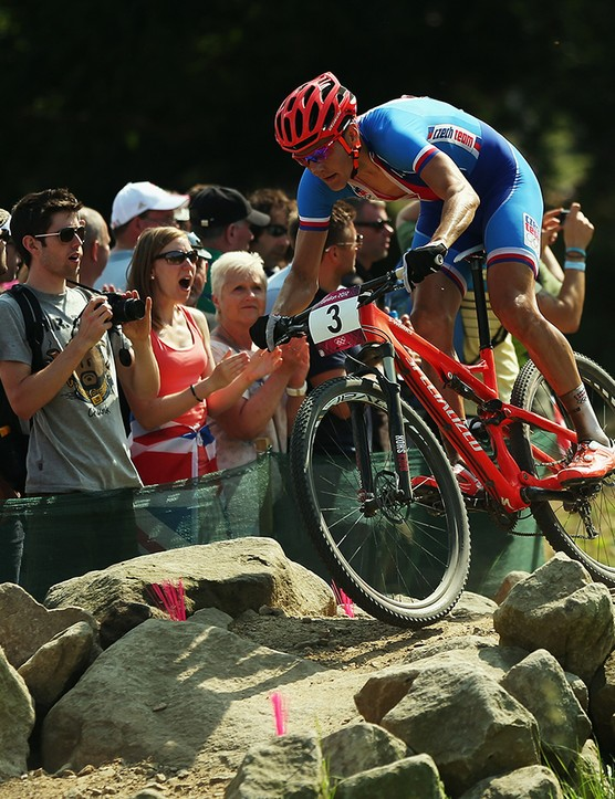 Jaroslav Kulhavy of the Czech Republic on his way to winning the Men's Mountain Bike race on Day 16 of the 2012 Olympic Games at Hadleigh Farm on 12 August 2012 in Hadleigh, Essex