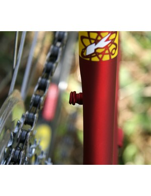The seatstay chain pip gives you somewhere to hang the chain when the wheel's out.