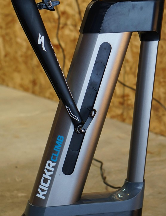 The Climb's motor is audible when changing positions, but the sound is quieter than the Kickr itself when pedaling at a decent tempo