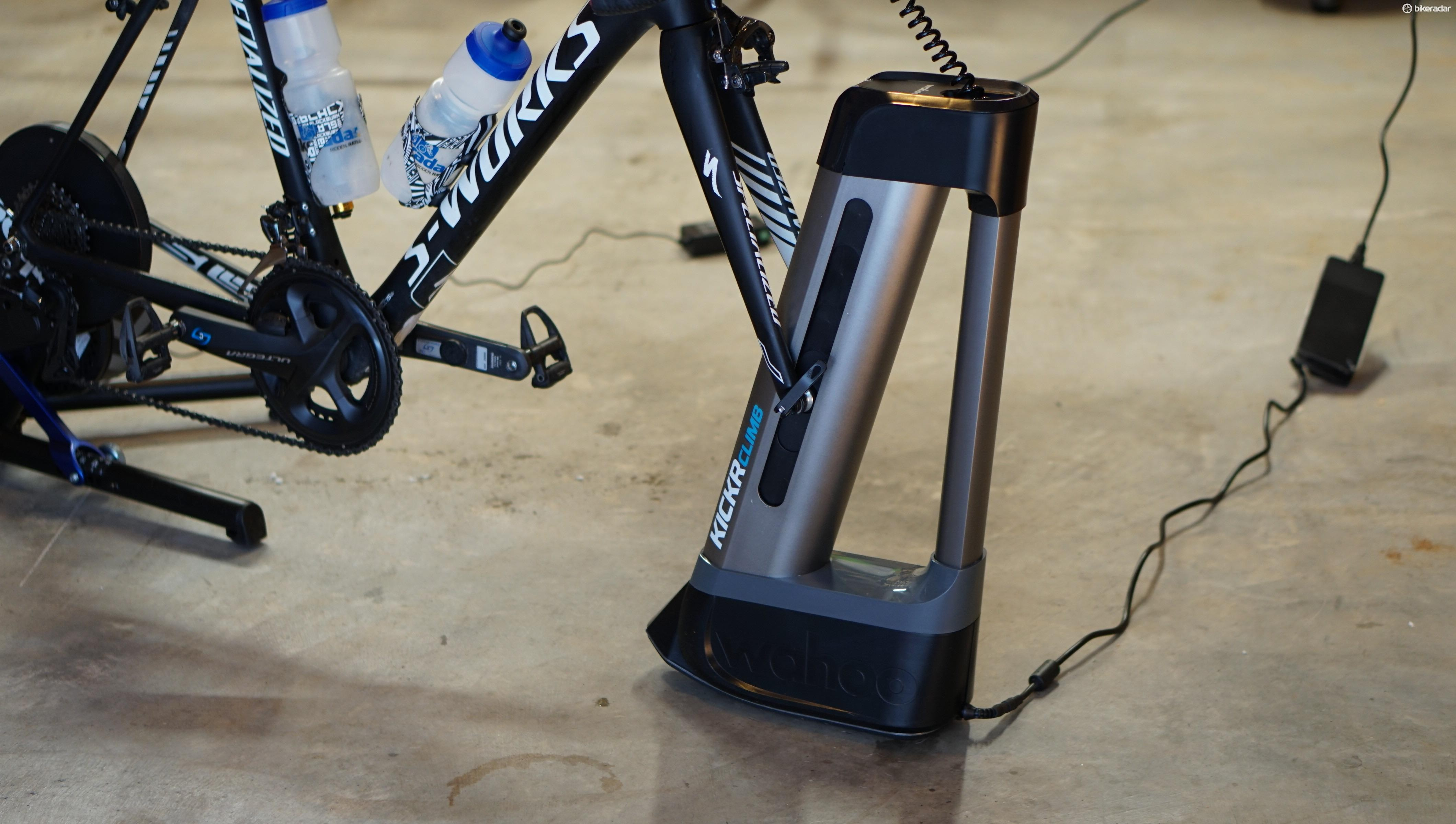 The Climb is stable enough to climb out of the saddle. Most of that stability comes from the solid anchoring of the bike at the dropouts on the Kickr