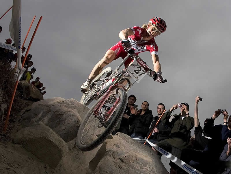 Liam Killeen of Great Britain competes in the Men's Cross-Country race during day one of the MTB World Cup held at Mount Stromlo August 30, 2008 in Canberra, Australia