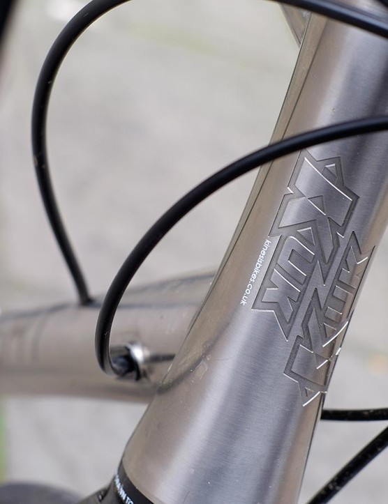 The head tube is machined from a single titanium billet