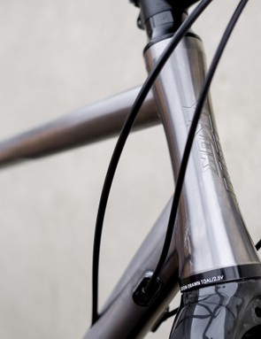 The hourglass shaped head tube indicates the level of attention that goes into designing Kinesis' frames