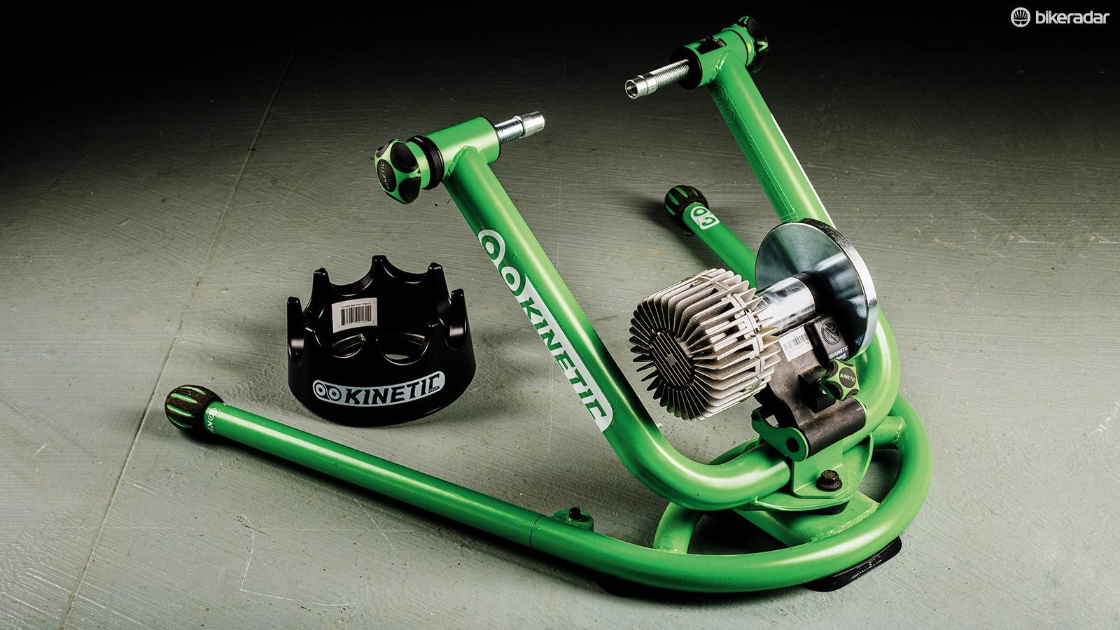 The wheel rolls on a metal or composite drum on a regular turbo trainer
