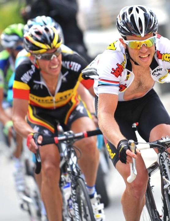 Kirchen holds off another Tour hopeful, Belgian sensation Stijn Devolder.