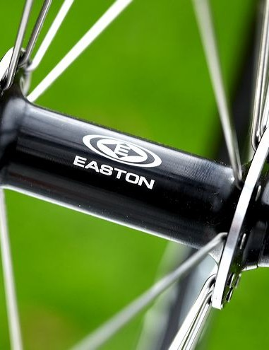 Easton EA 50 aero-section wheelset is a spec highlight.. they draw on traditional round stainless spokes, yet are thoroughly modern.